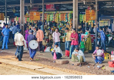 Margao, India - November 13, 2012: Bus stop in Margao Goa India. Bus station located on the main road to the Old Goa and Dudhsagar Waterfall - famous tourist attractions