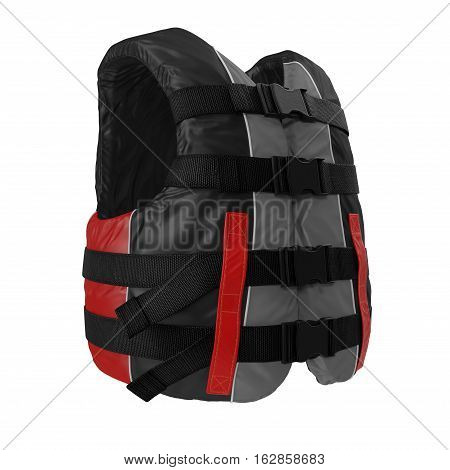 Red Life Vest on white background. 3D illustration