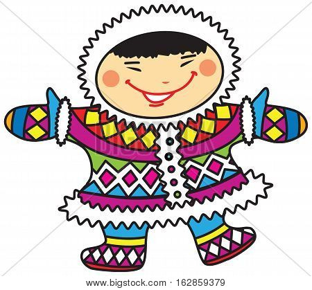 Vector illustration of a happy smiling cartoon Eskimo boy in colorful national costumes.