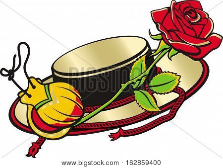Set of cartoon vector objects relate Spain and spanish culture. Spanish hat castanets and red rose.