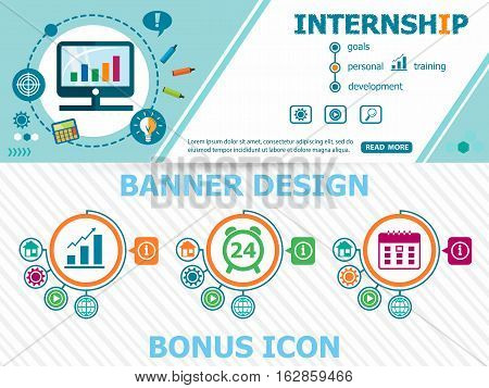 Internship Design Concepts And Abstract Cover Header Background For Website Design.