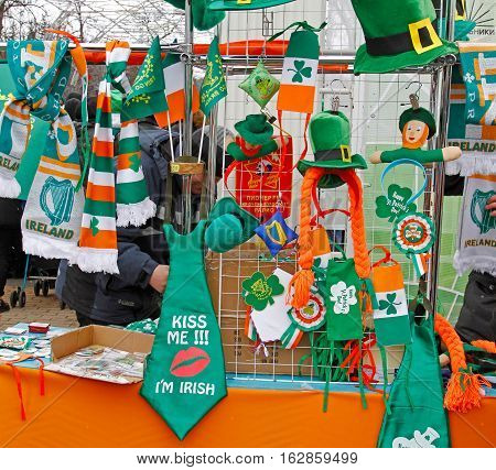 Moscow Russia - March 19 2016: Trade shop with St. Patrick's Day symbols in the park Sokolniki in Moscow