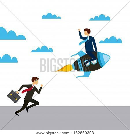 business man running and other business man on a rocket vehicle. colorful design. competitive business concept. vector illustration