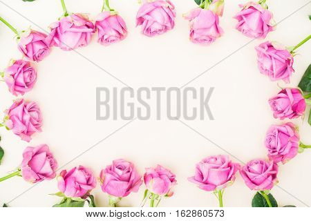 Valentines day violet roses top view flat ly frame