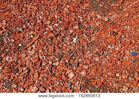Red wooden sawdust  texture as nature background