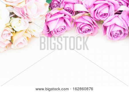 Valentines day violet roses top view flat ly border