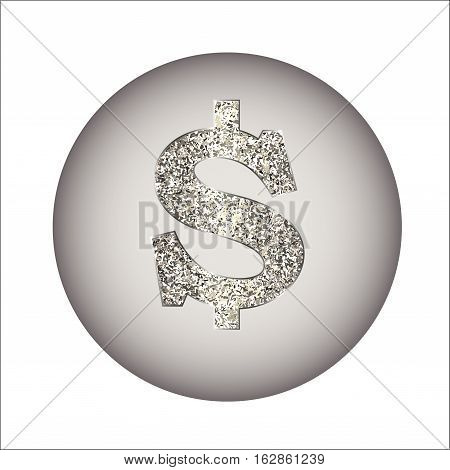 Dollar icon from of silver or platinum with sparkle. Sign USA currency is made in a flat style. Vector illustration on white. Square location. Symbolizes American currency, money, payment, sell etc.