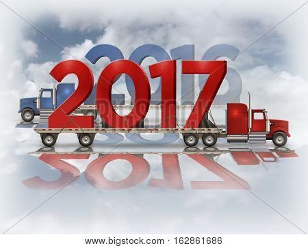 2017 And 2016 On Flatbed Trucks - 3D Illustration