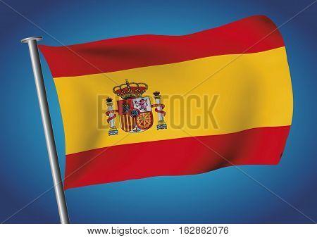 Spain Flag Waving On The Sky Vector