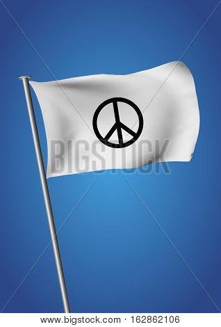 White Flag Waving Peace Symbol