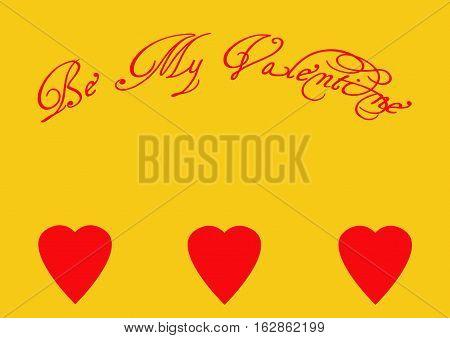 Be My Valentine Wish on Golden Yellow