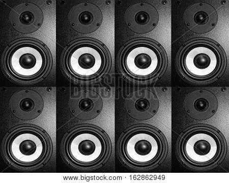 Black music speaker bass melody black white abstract minimalism textures song sound column background