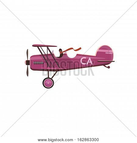 Biplane icon, cartoon, flat style isolated on white