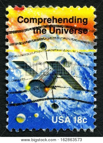 UNITED STATES OF AMERICA - CIRCA 1981: A used postage stamp from the USA depicting an illustration of a Space Station celebrating achievements in Space circa 1981.