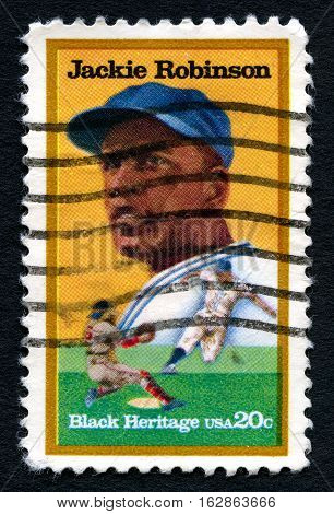 UNITED STATES OF AMERICA - CIRCA 1982: A used postage stamp from the USA celebrating black heritage depicting an illustration of famous Baseball player Jackie Robinson circa 1982.