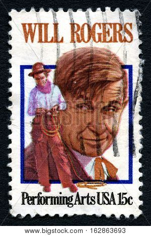 UNITED STATES OF AMERICA - CIRCA 1979: A used postage stamp from the USA depicting an illustration of famous American Cowboy and Actor Will Rogers circa 1979.