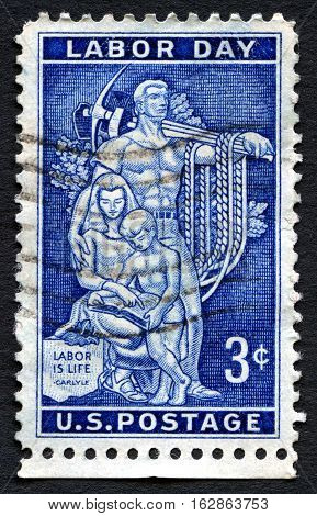 UNITED STATES OF AMERICA - CIRCA 1956: A used postage stamp from the USA celebrating Labor Day in the United States circa 1956.