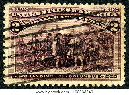 UNITED STATES OF AMERICA - CIRCA 1892: A used postage stamp from the USA depicting an illustration honoring the historic landing of Christopher Columbus circa 1892.