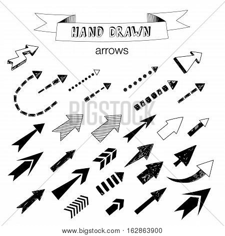Unique collection of hand drawn arrows. Vector design elements for your design.