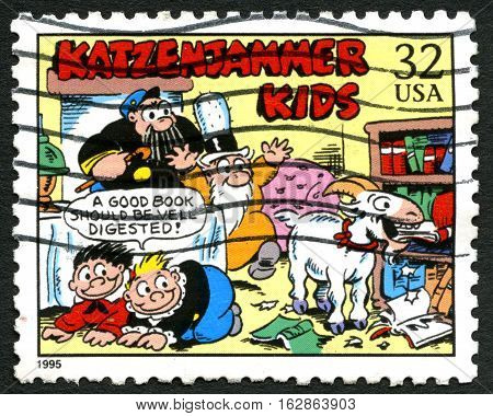 UNITED STATES OF AMERICA - CIRCA 1995: A postage stamp from the USA depicting an illustration from the famous Katzenjammer Kids comic strip circa 1995.
