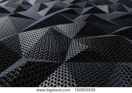 Metallic chain armor abstract geometric polygonal background. 3D rendering