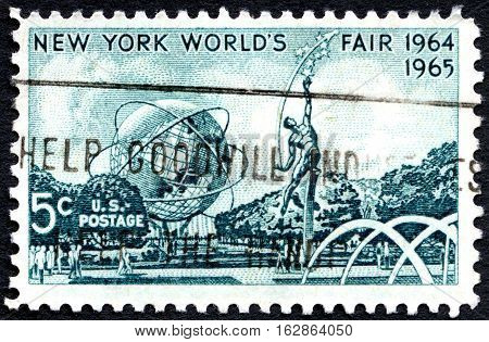 UNITED STATES OF AMERICA - CIRCA 1964: A used postage stamp from the USA celebrating the opening of the New York Worlds Fair circa 1964.