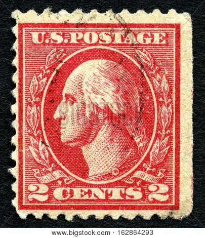 UNITED STATES OF AMERICA - CIRCA 1914: A used postage stamp from the USA depicting an illustration of first President of the United States George Washington circa 1914.