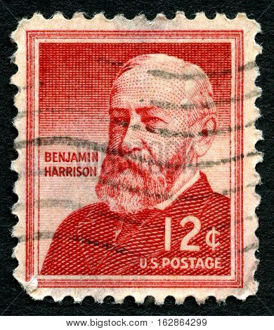 UNITED STATES OF AMERICA - CIRCA 1959: A used postage stamp from the USA depicting a portrait of former President of the United States Benjamin Harrison circa 1959.