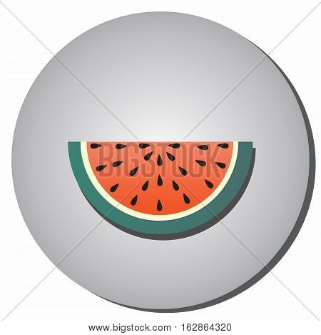 Icon slices of ripe red watermelon with seeds in a flat style on a gray background. Illustration of healthy food