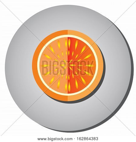 Icon halves of ripe juicy fruit oranges grapefruit style flat on a gray background. Illustration of fruit eating healthy