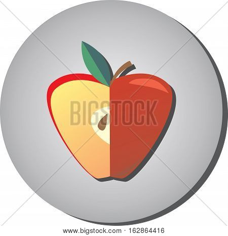 Icon of ripe juicy red apple in a cut in the style of flat on a gray background. Illustration of fruit eating healthy
