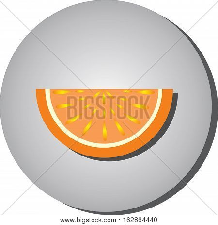 Icon slices of ripe juicy fruit oranges grapefruit style flat on a gray background. Illustration of fruit eating healthy