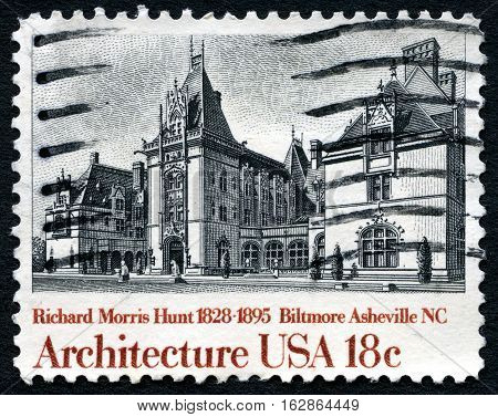 UNITED STATES OF AMERICA - CIRCA 1982: A used postage stamp from the United States of America dedicated to architect Richard Morris Hunt - the architect of Biltmore Estate circa 1982.