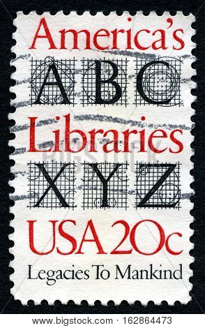 UNITED STATES OF AMERICA - CIRCA 1982: A used postage stamp from the USA celebrating Americas Libraries and the Legacy they have circa 1982.