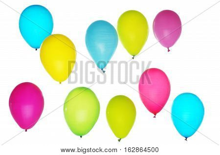 Colorful balloons flying on light background, fun