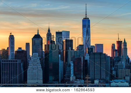 Downtown Manhattan, New York City skyline at dusk