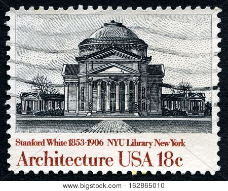 UNITED STATES OF AMERICA - CIRCA 1982: A used postage stamp from the United States of America dedicated to architect Stanford White - the architect of the NYU Library in New York circa 1982.
