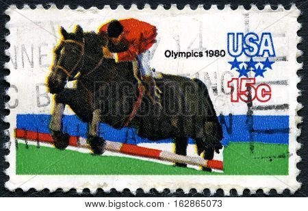 UNITED STATES OF AMERICA - CIRCA 1980: A used postage stamp from the USA issued to commemorate the 1980 Olympic Games held in Moscow circa 1980.