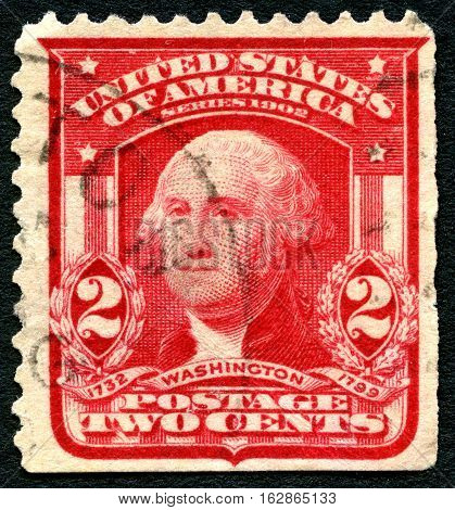 UNITED STATES OF AMERICA - CIRCA 1914: A used postage stamp from the USA depicting a portrait of first President of the United States George Washington circa 1914.
