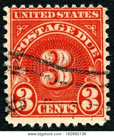 UNITED STATES OF AMERICA - CIRCA 1917: A used postage stamp from the USA informing the sender that 3 cents is due for postage circa 1917.
