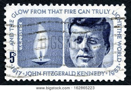 UNITED STATES OF AMERICA - CIRCA 1963: A used postage stamp from the USA depicting a portrait of former President of the United States John F. Kennedy circa 1963.