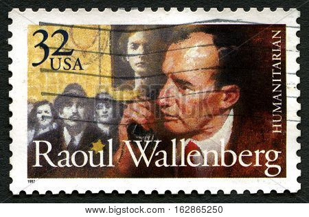 UNITED STATES OF AMERICA - CIRCA 1997: A used postage stamp from the USA depicting a portrait of famous humanitarian Raoul Wallenberg circa 1997.