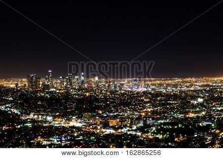 Downtown Los Angeles skyline long exposure at night