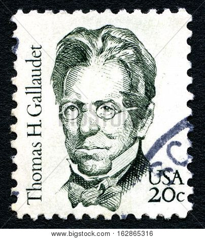 UNITED STATES OF AMERICA - CIRCA 1983: A used postage stamp from the USA depicting a portrait of American pioneer in the education of the deaf - Thomas H. Gallaudet circa 1983.