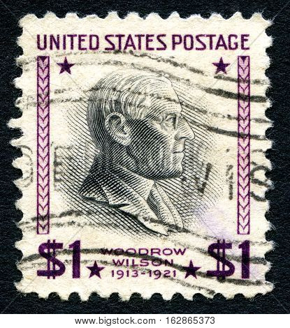 UNITED STATES OF AMERICA - CIRCA 1938: A used postage stamp from the USA depicting a portrait of former US President Woodrow Wilson circa 1938.