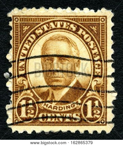 UNITED STATES OF AMERICA - CIRCA 1930: A used postage stamp from the USA depicting a portrait of former US President Warren G. Harding circa 1930.