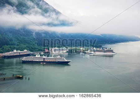 Aerial view of cruise ships at port in Juneau, Alaska