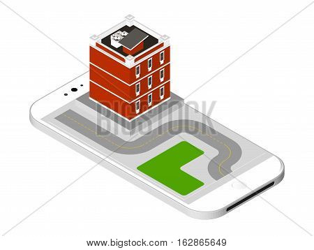 Isometric Icon Representing Modern House With A Road Standing On The Smartphone Screen. Urban Dwelli