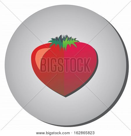 Icon with tomato - style flat on a gray background. Illustration of healthy food and beauty.