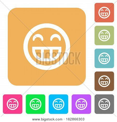 Laughing emoticon icons on rounded square vivid color backgrounds.